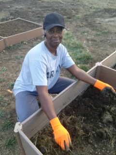 a gardener prepares a new raised bed at Friendship Garden