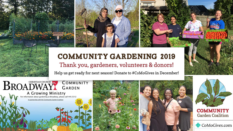Collage of garden images from 2019 with thank you message and request to donate through CoMoGives in December