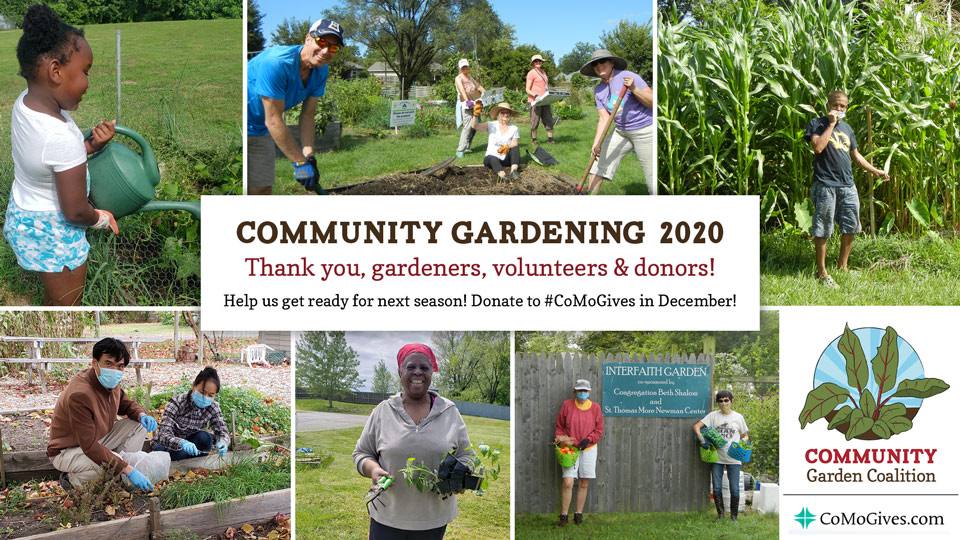 "Collage of community gardening photos from 2020, ""Thank you gardeners, volunteers & donors! Donate to #CoMoGives in December!"""